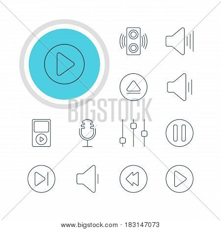 Vector Illustration Of 12 Melody Icons. Editable Pack Of Audio, Amplifier, Mp3 And Other Elements.