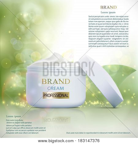 Plastic container with cosmetic cream on a natural background. Skin Care ads template. Stock vector illustration.