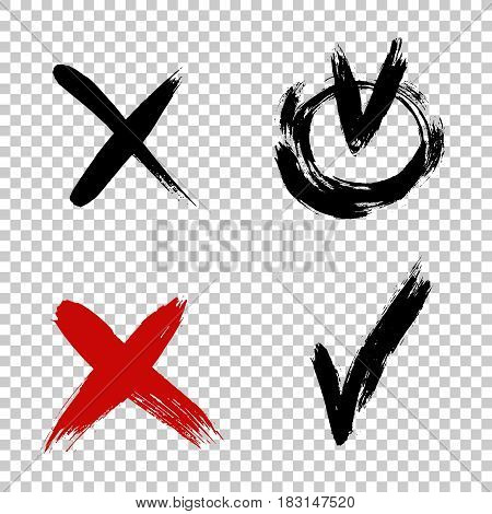 Vector brush stroke ticks. Check mark and x sign. Yes no graphic symbols. Voting for and against concept. Grunge cross. Brush strokes distressed texture. Vector illustration. Painted objects isolated on white background.