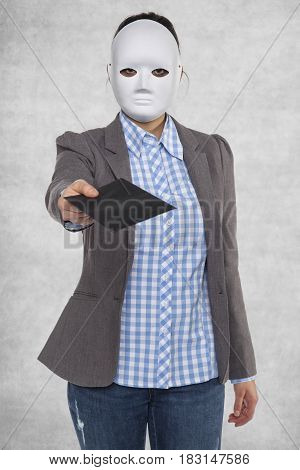 Business Woman In A Mask, Gives A Bribe
