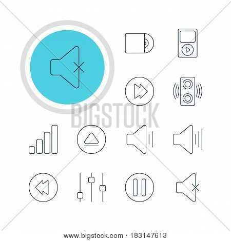 Vector Illustration Of 12 Melody Icons. Editable Pack Of Mp3, Lag, Rewind And Other Elements.