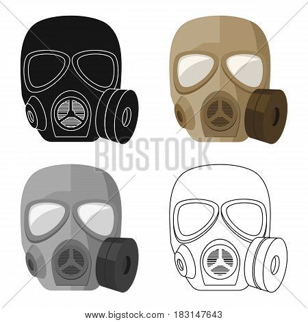 Army gas mask icon in cartoon style isolated on white background. Military and army symbol vector illustration
