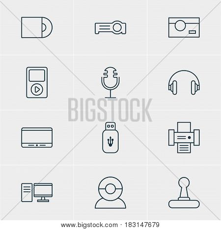 Vector Illustration Of 12 Hardware Icons. Editable Pack Of PC, Monitor, Usb Card And Other Elements.
