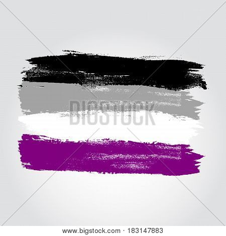 Asexual Pride Flag In A Form Of Brush Stroke
