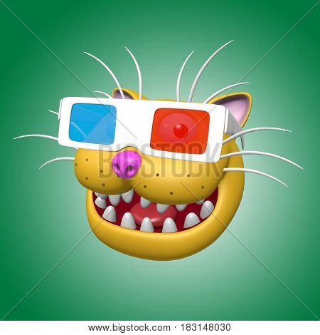 Cartoon smiling orange cat head in 3d glasses. 3D illustration. Funny cool emoticon character. Cheerful pet for web icons and t-shirt.