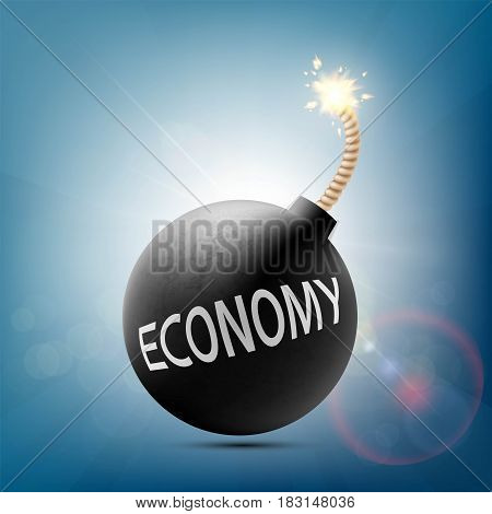 Round bomb with a burning wick and word economy. Stock vector illustration.