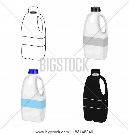 Gallon plastic milk bottle icon in cartoon style isolated on white background. Milk product and sweet symbol vector illustration.