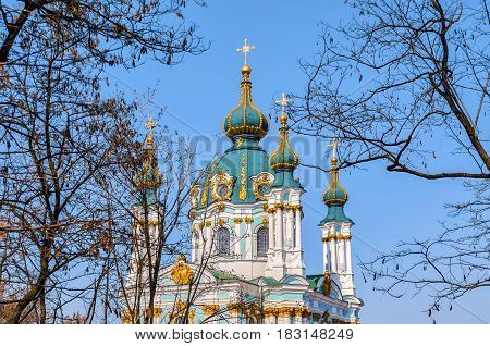 St. Andrew's church in Kyiv Ukraine in spring