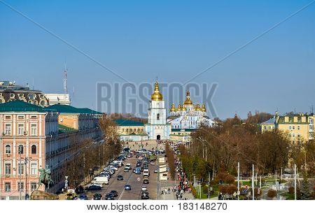 St Michael Golden-Domed Monastery Kiev Ukraine in spring