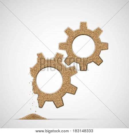 Broken gears made of sand. Stock vector illustration.
