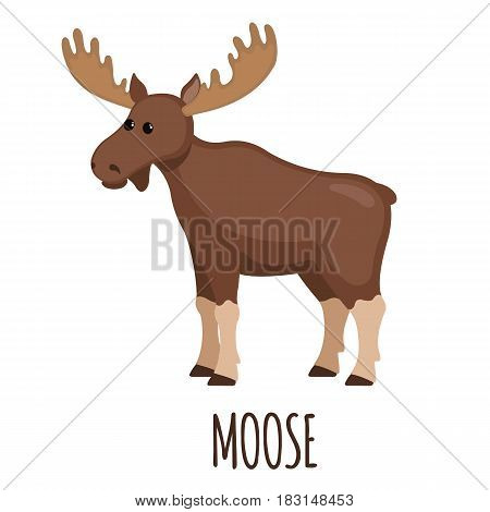 Cute Moose in flat style isolated on white background. Vector illustration. Forest animal. Cartoon elk.