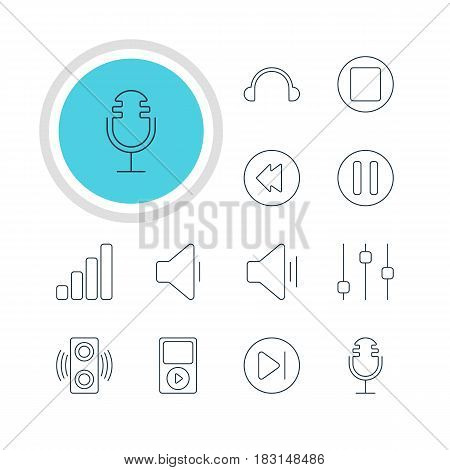Vector Illustration Of 12 Melody Icons. Editable Pack Of Audio, Stabilizer, Subsequent And Other Elements.