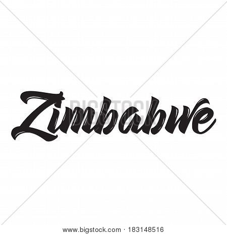 zimbabwe, text design. Vector calligraphy. Typography poster. Usable as background.
