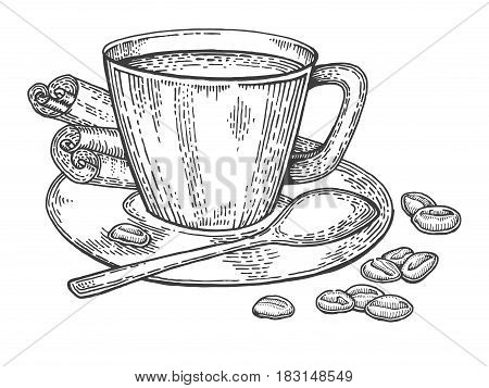 Cup of coffee and beans engraving vector illustration. Scratch board style imitation. Hand drawn image.