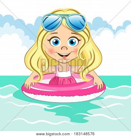 Vector cute blonde girl with cool blue sunglasses swims in the sea with swiming ring for your design