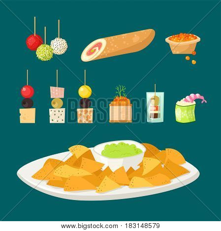 Various meat canape snacks appetizer fish and cheese banquet snacks on platter illustration. Cuisine buffet delicious. Vector tasty starter restaurant catering tartlet ham sandwich.
