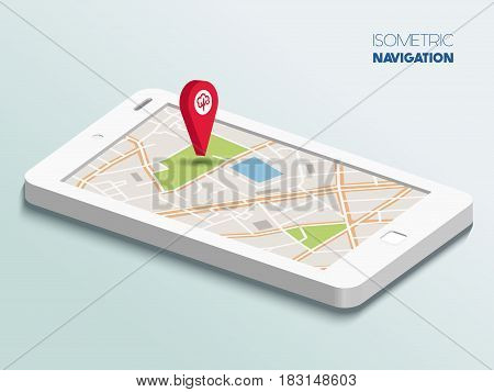 Vector Isometric smartphone with map navigation app and geotag symbol, technology flat 3d isometry, location concept