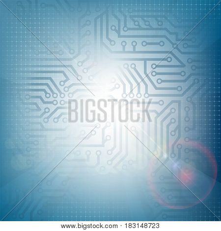 Technology futuristic background with circuit and rays of light. Stock Vector illustration.