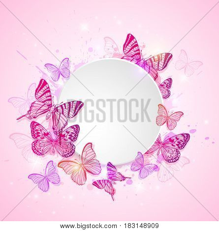 Pink abstract romantic vector background with butterflies