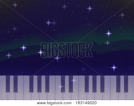 vector piano keys on the background of the Northern lights. bright stars. the night sky