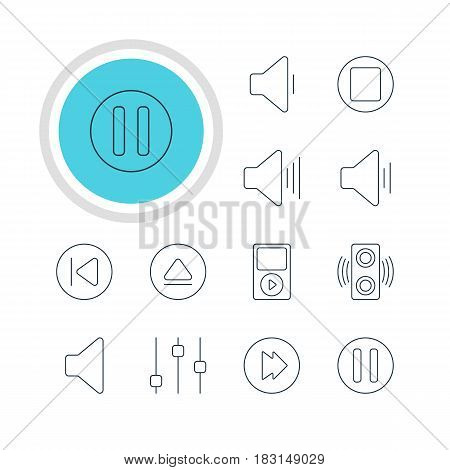Vector Illustration Of 12 Melody Icons. Editable Pack Of Advanced, Lag, Amplifier And Other Elements.