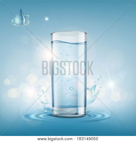 Glass with clear water. Stock vector illustration.