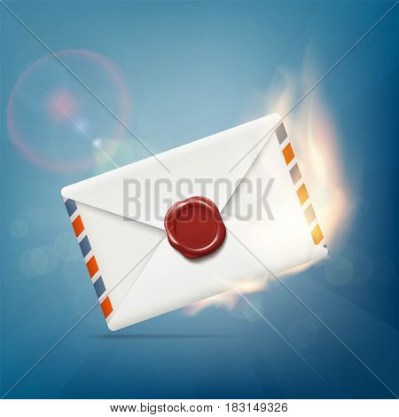 Envelope with wax seal on fire. Stock vector illustration.