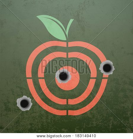 Military target in the form of fruit apple. Metal background with bullet holes. Stock vector illustration.
