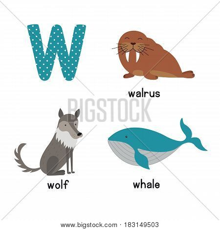 Cute Animal Zoo Alphabet. Letter W for wolf, whale, walrus. Fun teaching aids for Kids