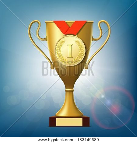 Golden cup and medal for the victory. Stock vector illustration.