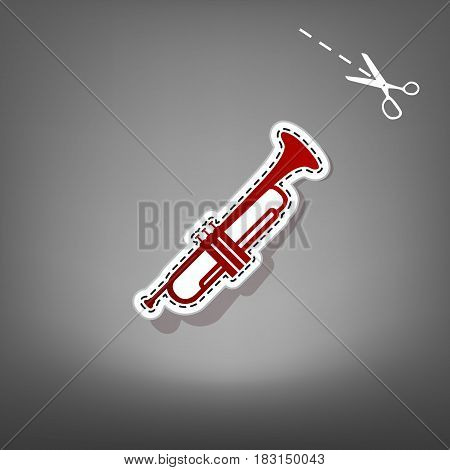 Musical instrument Trumpet sign. Vector. Red icon with for applique from paper with shadow on gray background with scissors.