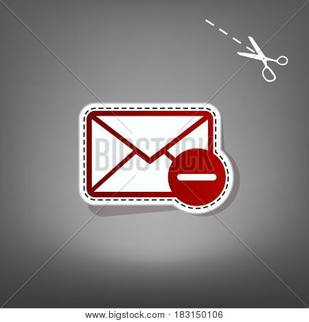 Mail sign illustration with remove mark. Vector. Red icon with for applique from paper with shadow on gray background with scissors.