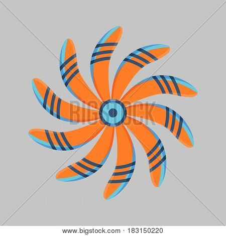 Turbines icon propeller fan rotation technology equipment blade wind ventilator generator vector illustration. Marine electric industrial ventilator ship blower.