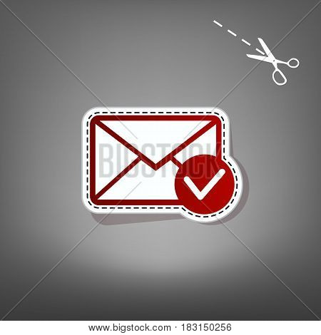 Mail sign illustration with allow mark. Vector. Red icon with for applique from paper with shadow on gray background with scissors.