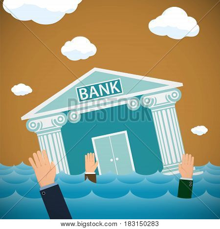 Building of the bank drowning in the sea. Bankruptcy and financial economics. Stock vector illustration.