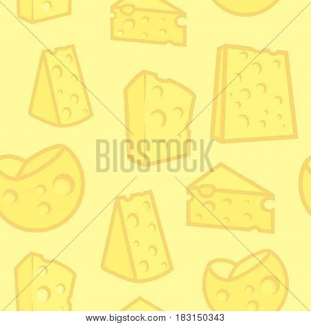 Vector Seamless Background with Porous Cheese Yellow Texture for Design of Culinary Company.