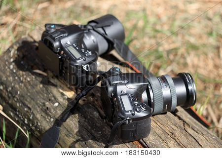 Gomel, Belarus - 12 April 2017: Sony Cameras Are Lying On A Log. Ready To Shoot
