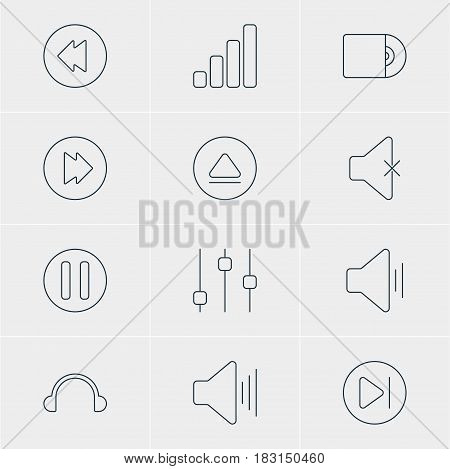 Vector Illustration Of 12 Music Icons. Editable Pack Of Stabilizer, Audio, Rewind And Other Elements.