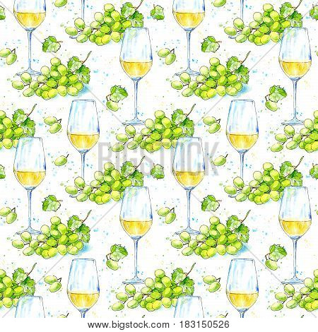 Seamless pattern of a white wine and grape.Picture of a alcoholic drink.Watercolor hand drawn illustration.White background.
