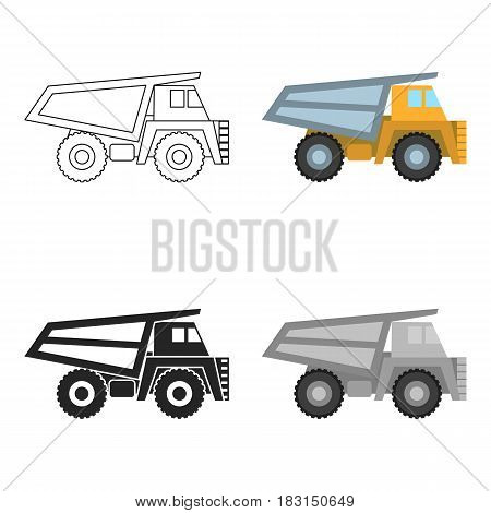 Haul truck icon in cartoon style isolated on white background. Mine symbol vector illustration.
