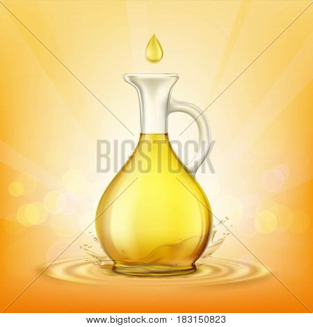 Glass jug with yellow oil and a spray of droplets. Stock vector illustration.