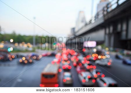 blur background of traffic jam in city