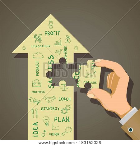 Business development strategy and start-up concept. Stock vector illustration.