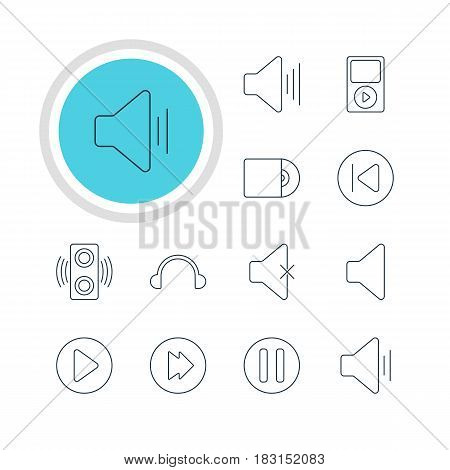 Vector Illustration Of 12 Music Icons. Editable Pack Of Compact Disk, Speaker, Advanced And Other Elements.