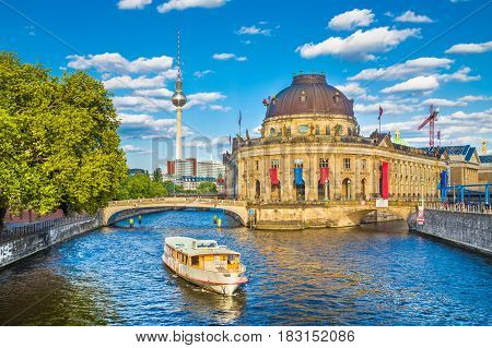 Museumsinsel With Tv Tower And Excursion Boat On Spree River At Sunset, Berlin, Germany