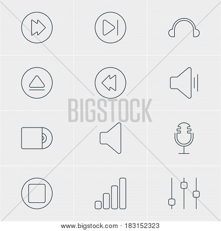 Vector Illustration Of 12 Melody Icons. Editable Pack Of Audio, Subsequent, Compact Disk And Other Elements.
