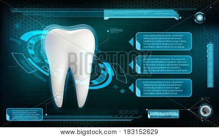 Human tooth. Whitening and treatment. Stock vector illustration.