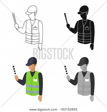 Parking attendant icon in cartoon design isolated on white background. Parking zone symbol stock vector illustration.