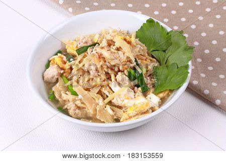 Fried Egg And  Ginger With Minced Pork In Soup.