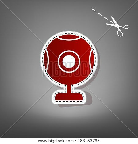Chat web camera sign. Vector. Red icon with for applique from paper with shadow on gray background with scissors.